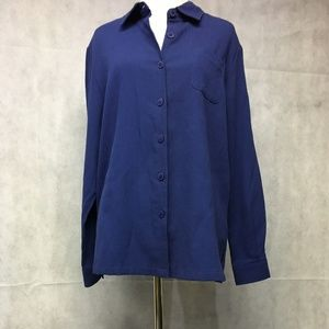 Tops - Shirt Large Blue Woman No Tags Moiree Fabric ..